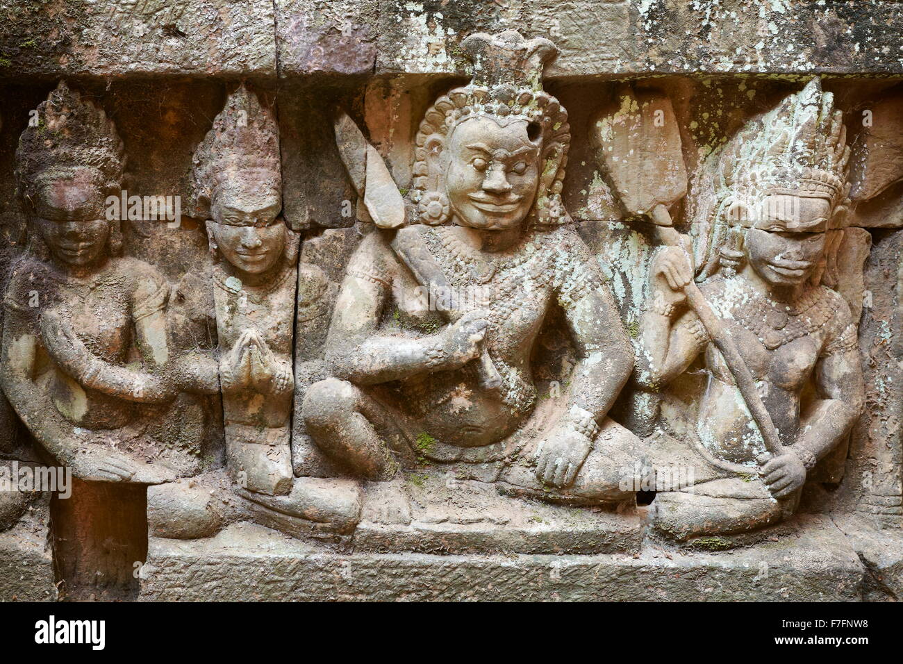 Scalptures on the walls of Terrace of the Leper King Temple, Angkor, Cambodia, Asia - Stock Image