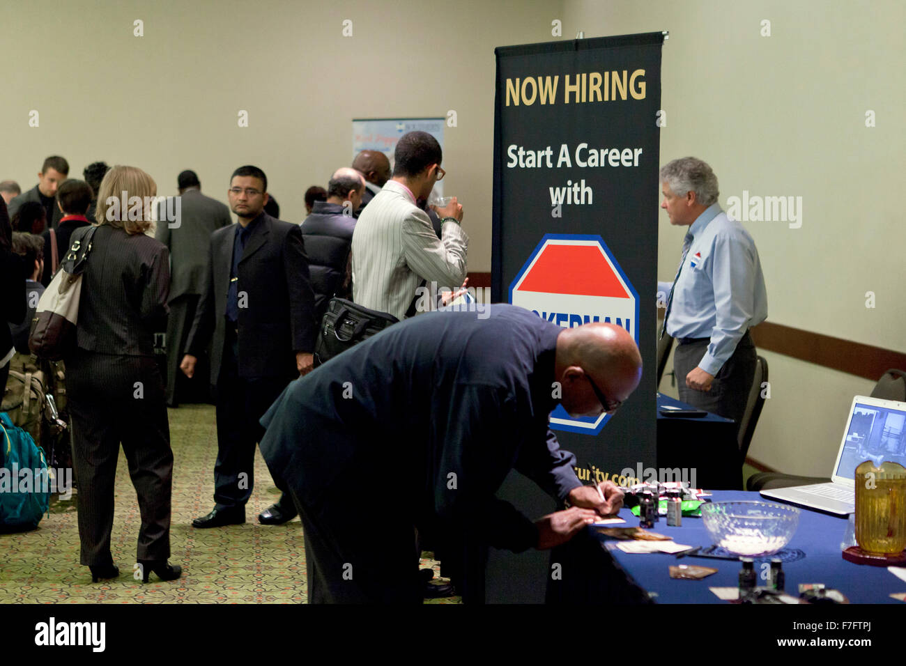 Job seekers at hiring fair - USA - Stock Image