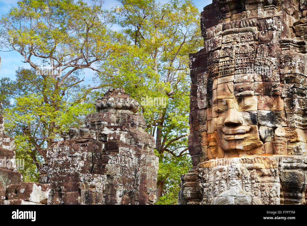 Faces of Bayon Temple, Angkor Thom, Cambodia, Asia - Stock Image