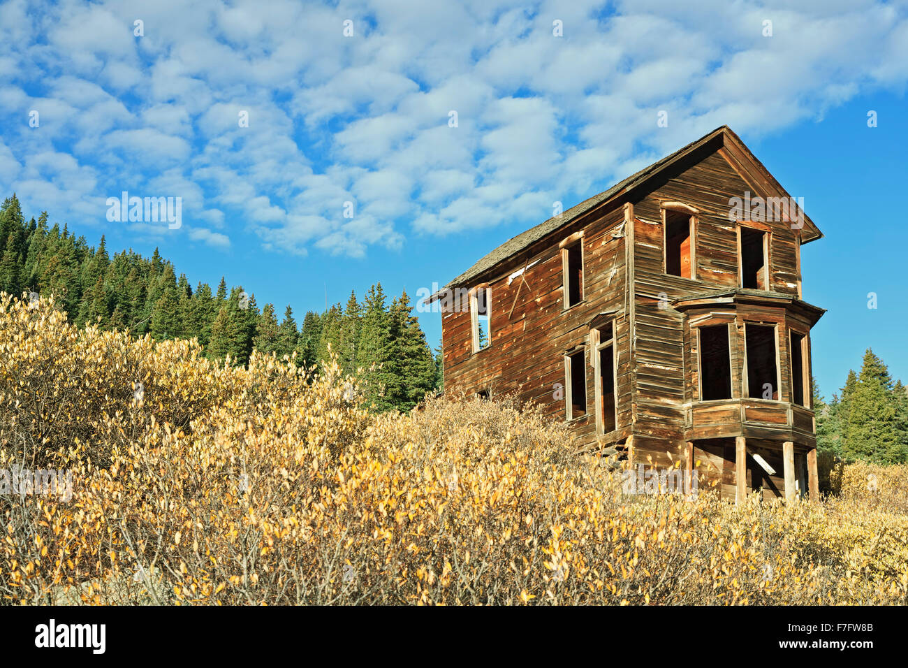 Abandoned house, Animas Forks ghost town, San Juan Mountains, Colorado USA - Stock Image