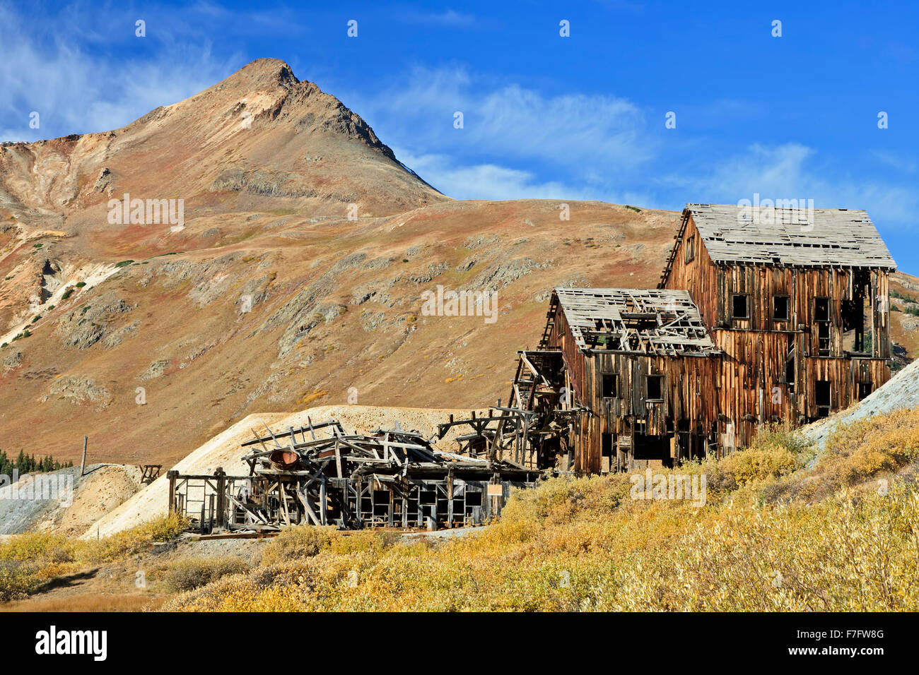 Abandoned Frisco Mill, San Juan Mountains, Colorado USA - Stock Image