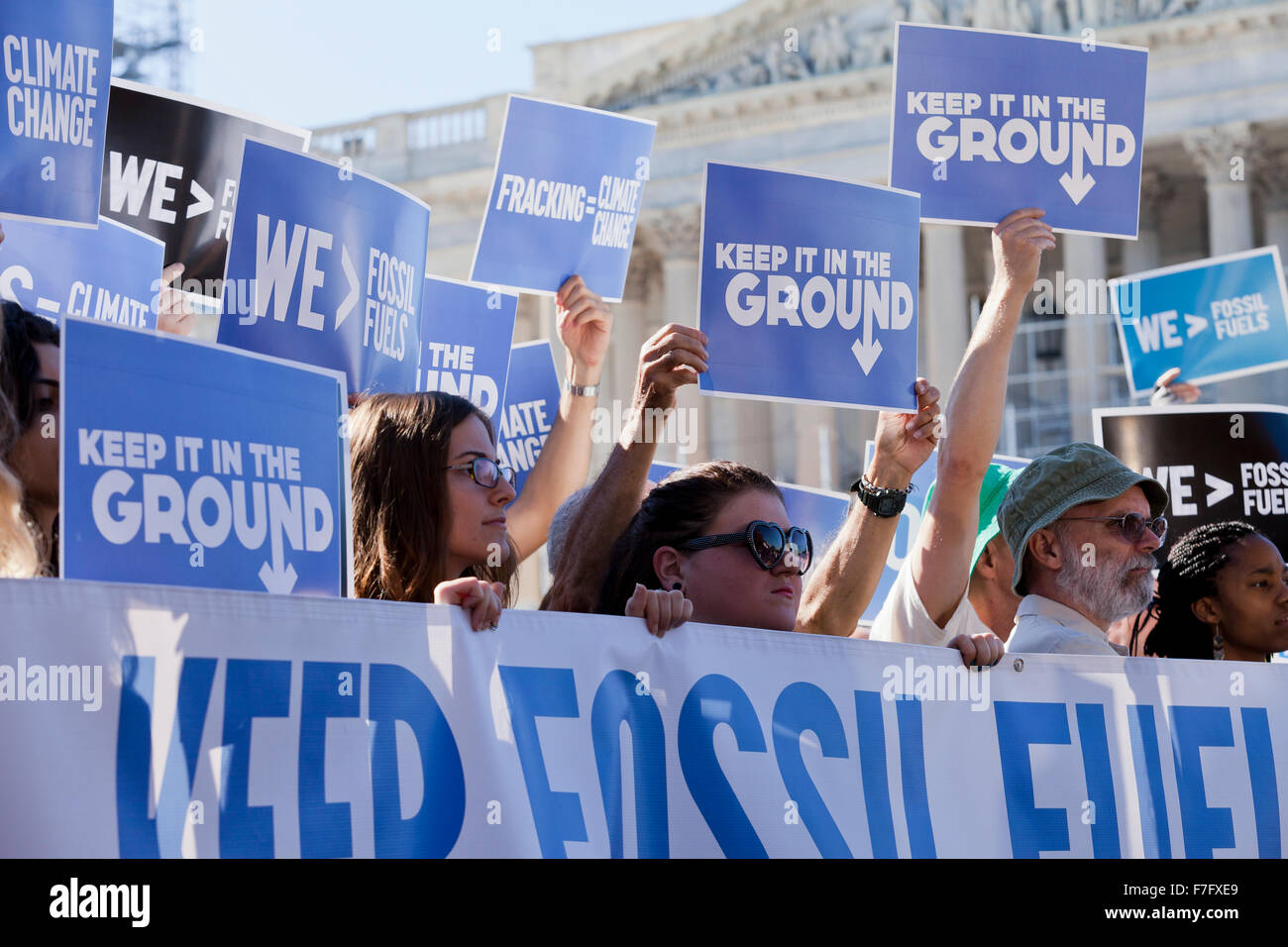 Climate activists at 'Keep It In The Ground' rally - Washington, DC USA - Stock Image