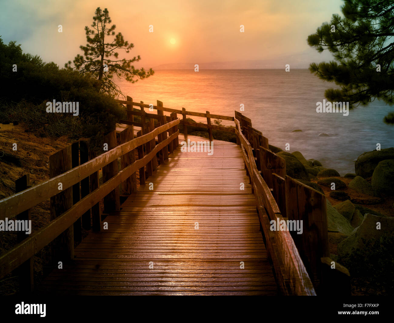 Path at Sand Harbor Park with Lake Tahoe, Nevada - Stock Image