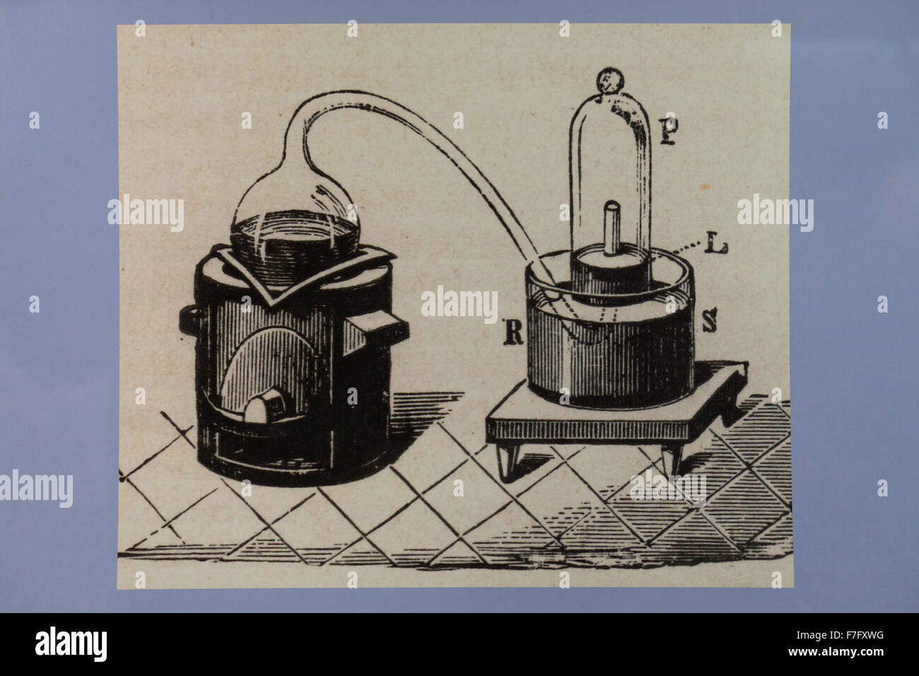 Illustration of retort and bell jar used in chemistry, circa 1897 - Stock Image