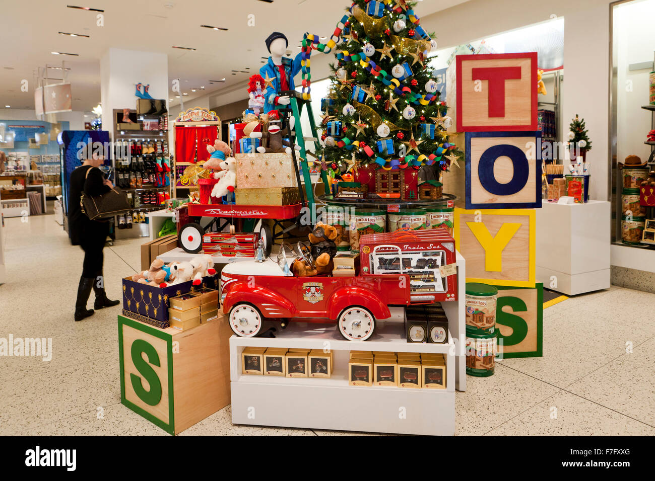 Christmas Toys Display At Shopping Center Usa Stock Photo