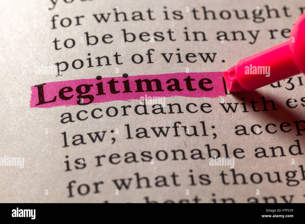 Fake Dictionary, Dictionary definition of the word legitimate - Stock Image