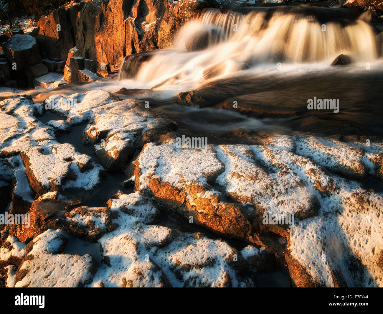 Eagle Creek Falls with snow. Lake Tahoe, California - Stock Image