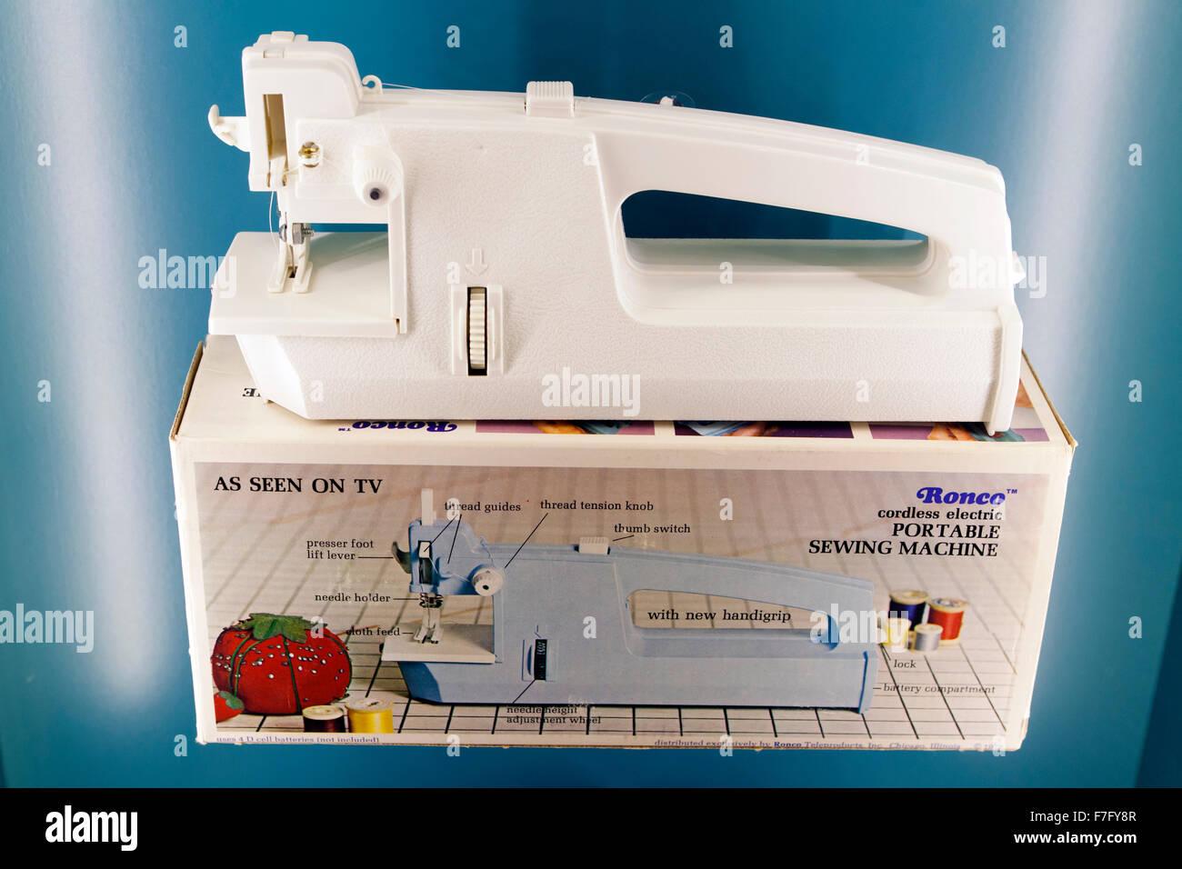 Ronco cordless electric portable sewing machine, circa 1970s - Stock Image