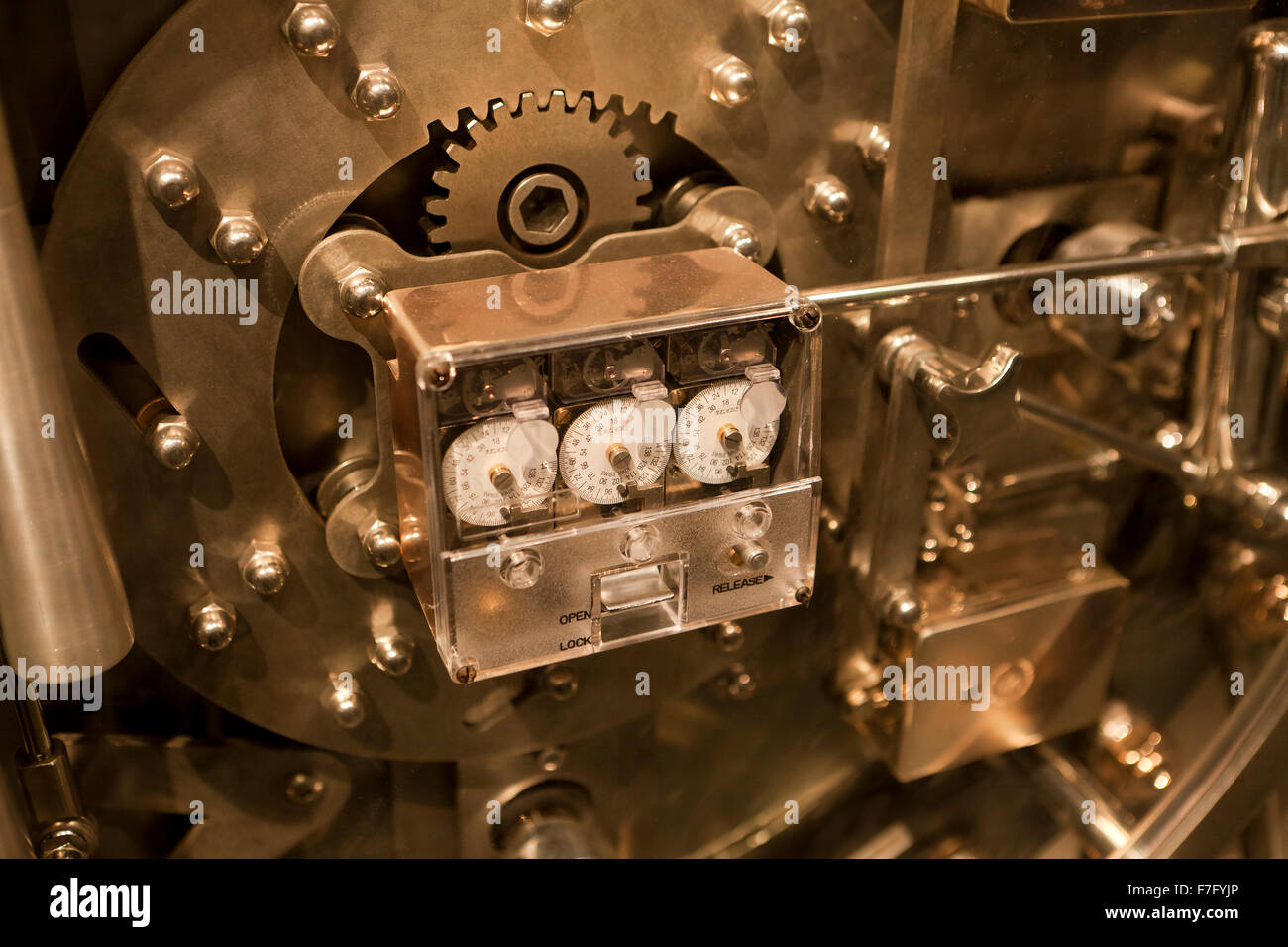 Bank vault door lock mechanism - USA - Stock Image