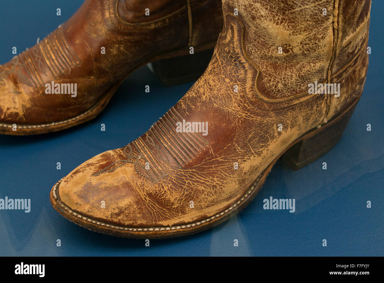 Worn leather cowboy boots - USA - Stock Image