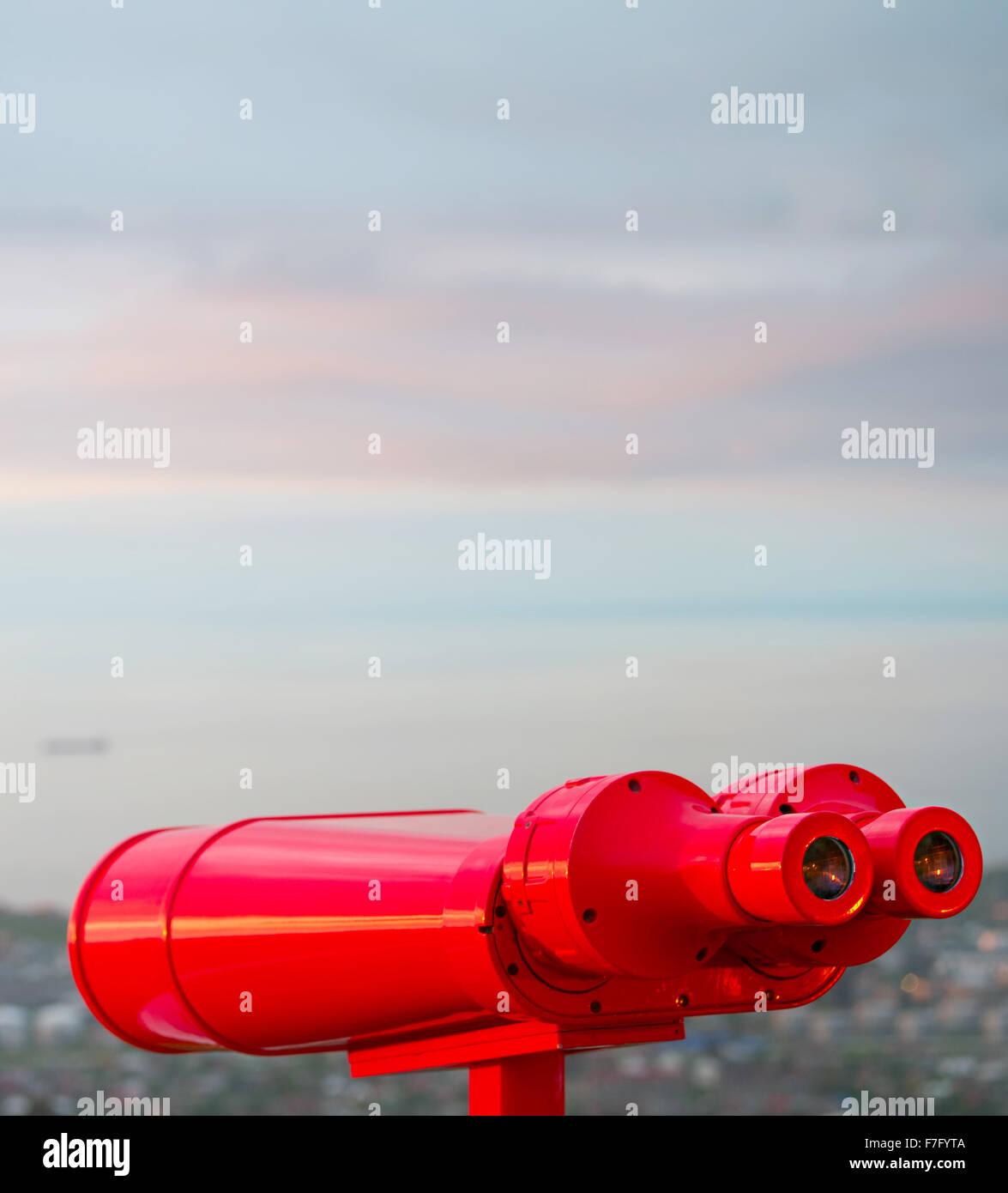 Binocular at viewpoint at sunset. Batumi, Adjara, Georgia - Stock Image