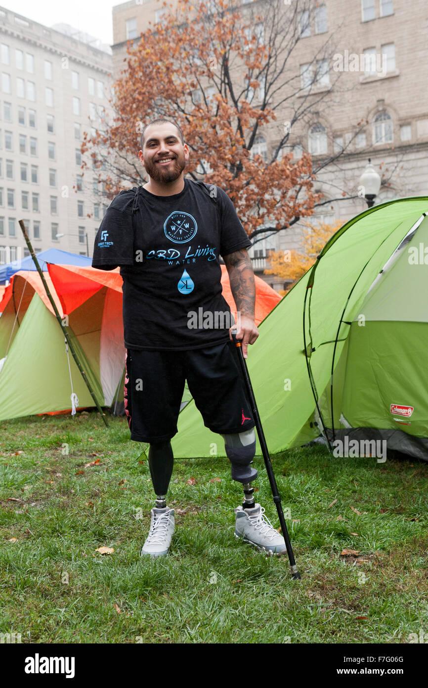 US veteran with multi limb loss at medical cannabis rally - Washington, DC USA - Stock Image