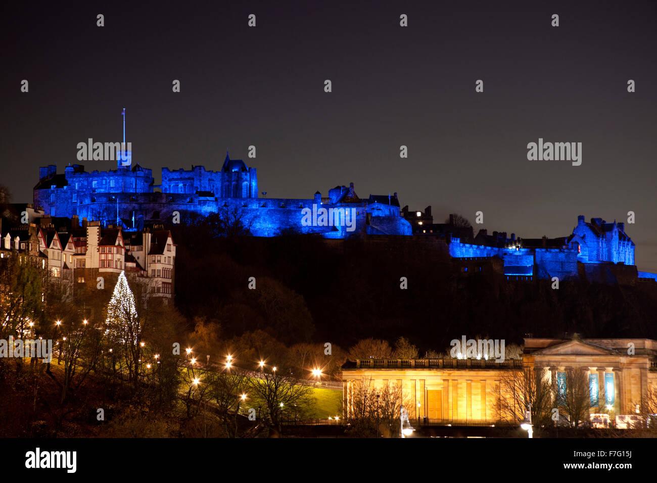 Edinburgh, Scotland, UK. 30 Nov, 2015. to celebrate St Andrews night  the Scottish capital's buidings including - Stock Image