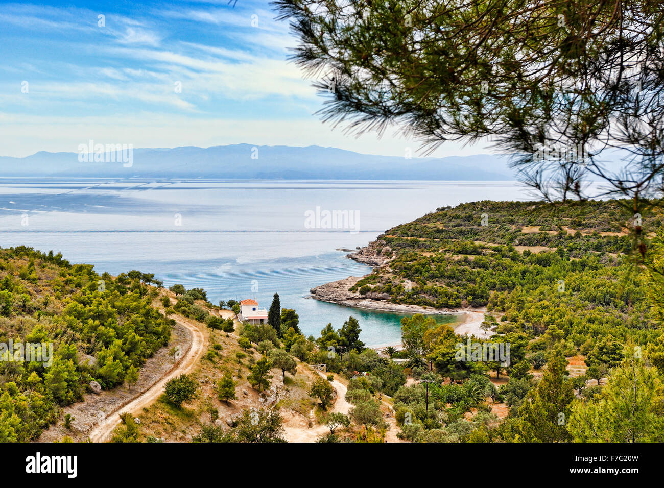 Country houses on the west side of Spetses island, Greece - Stock Image
