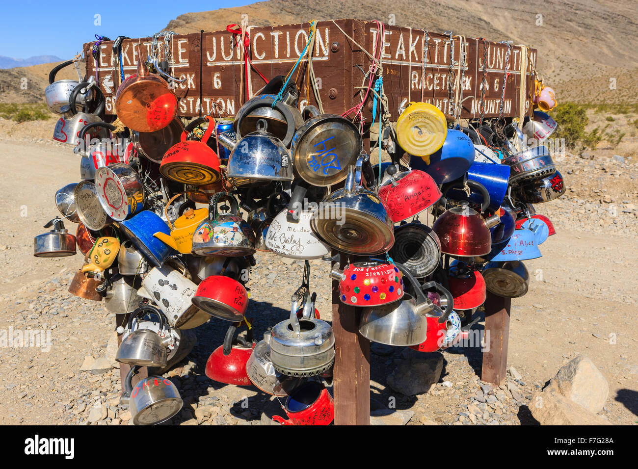 Tea kettle junction road sign in Death Valley N.P, California, USA - Stock Image