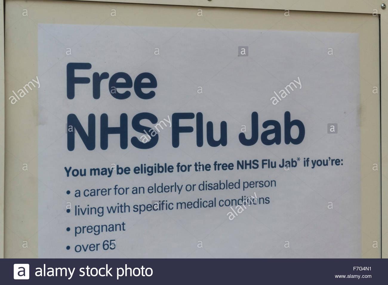 Sign for free NHS Flu Jab - Stock Image