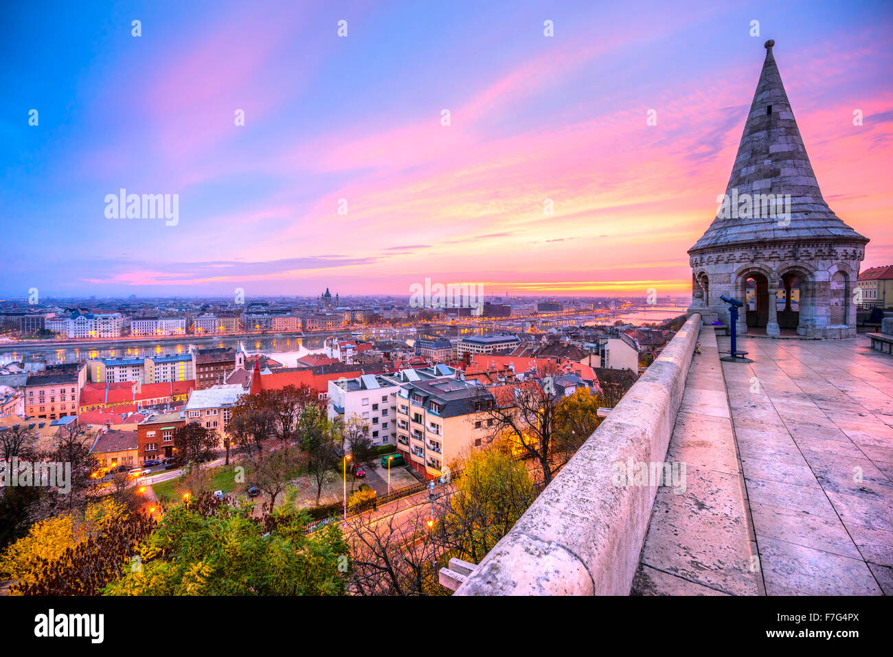 View of Budapest from the Fisherman's Bastion, Hungary - Stock Image