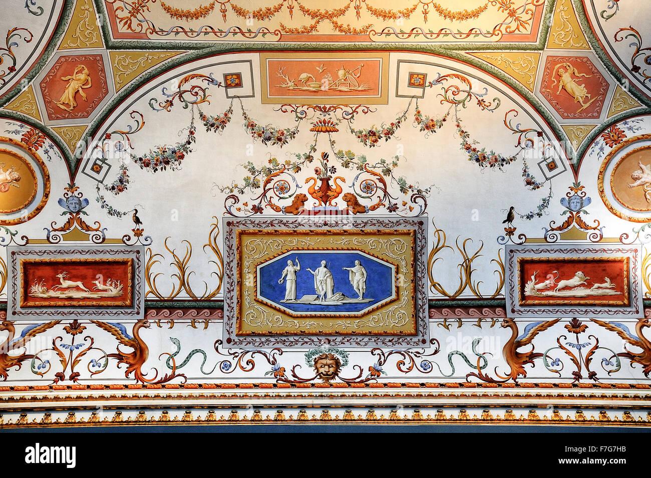 Italy Campania Caserta Royal Palace ( Reggia ) Frescoes Stock Photo