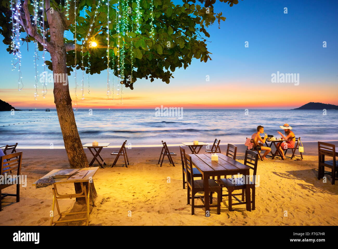 Tropical Restaurant on the beach in Lima Coco Resort, Koh Samet Island, Thailand - Stock Image