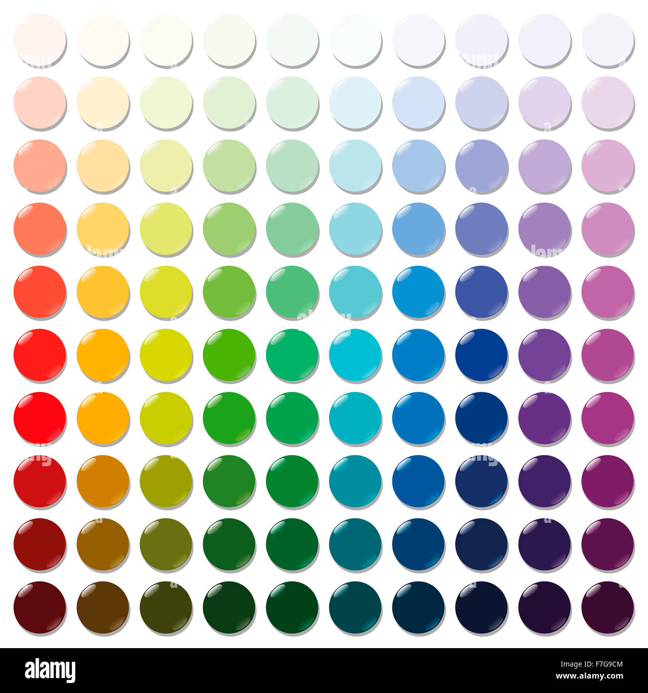 Counters - exactly one hundred round colorful plastic tokens sorted like a color swatch - from very bright to intense - Stock Image