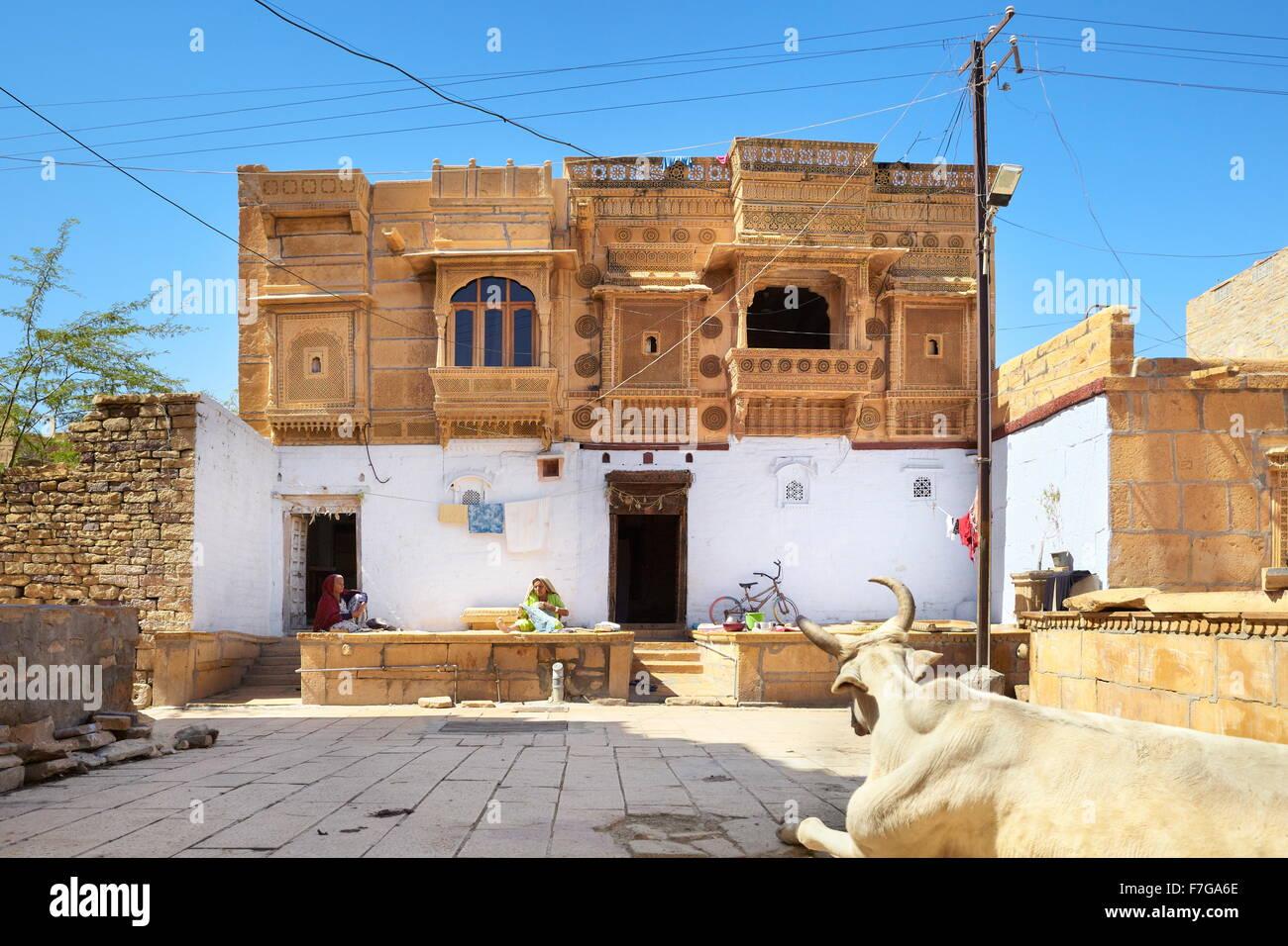 Traditional india old haveli (mansion) in Jaisalmer Fort, Jaisalmer, India - Stock Image