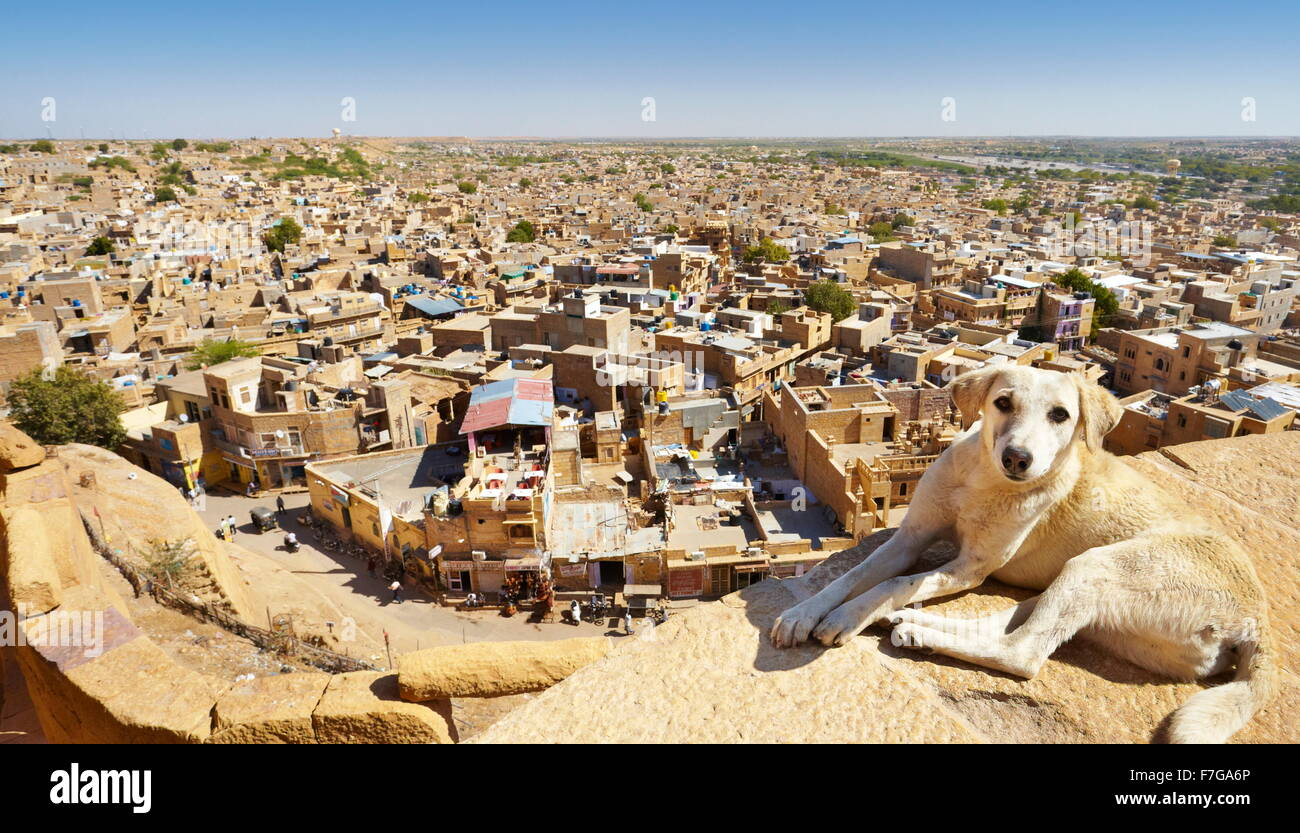 View from the top of Jaisalmer Fort of city below, Jaisalmer, India - Stock Image