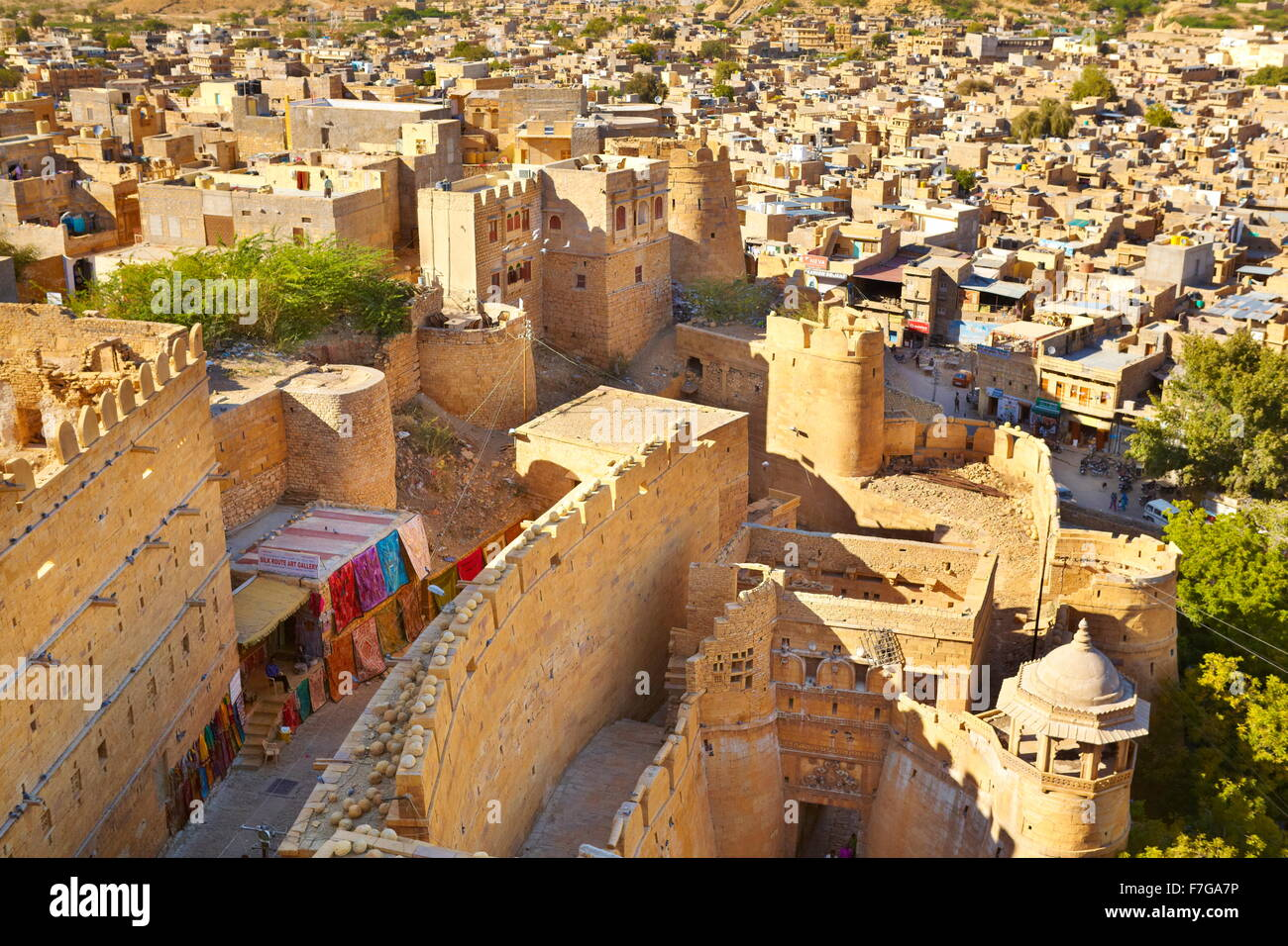 Aerial view from the top of Jaisalmer Fort of the foritication and city below, Jaisalmer, India - Stock Image