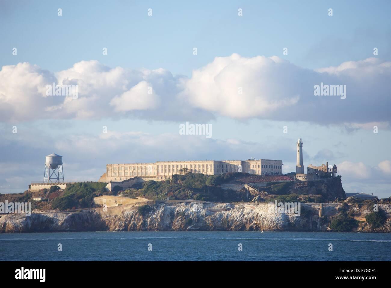 Alcatraz in late afternoon sunshine, San Francisco, California - Stock Image