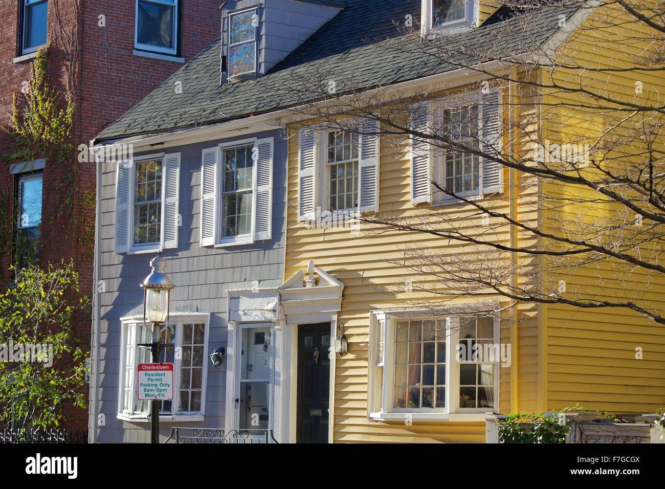 Charming yellow houses in Charlestown, Massachusetts - Stock Image