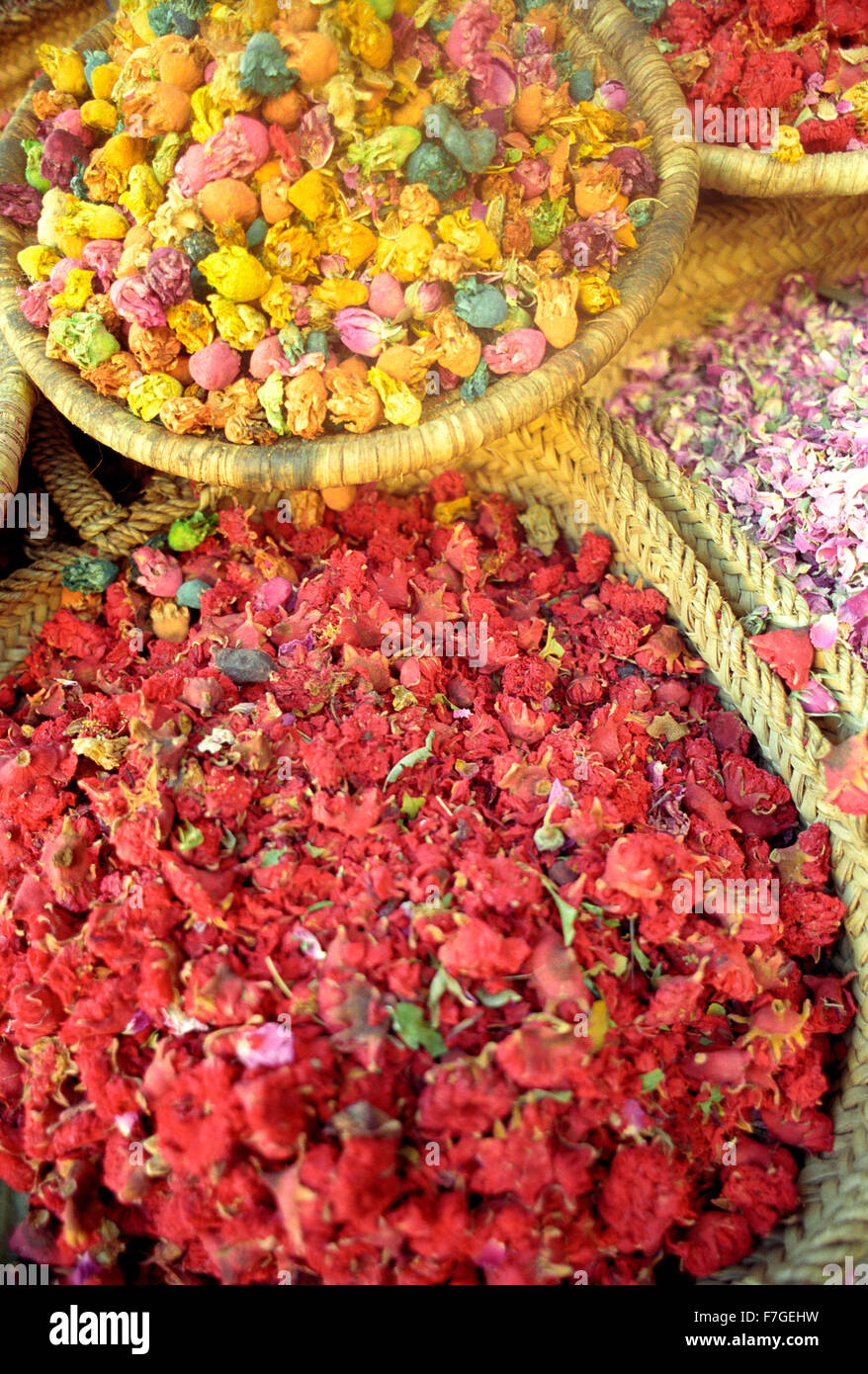 Dried flowers for sale in the medina at Marrakech.Morocco Stock ...