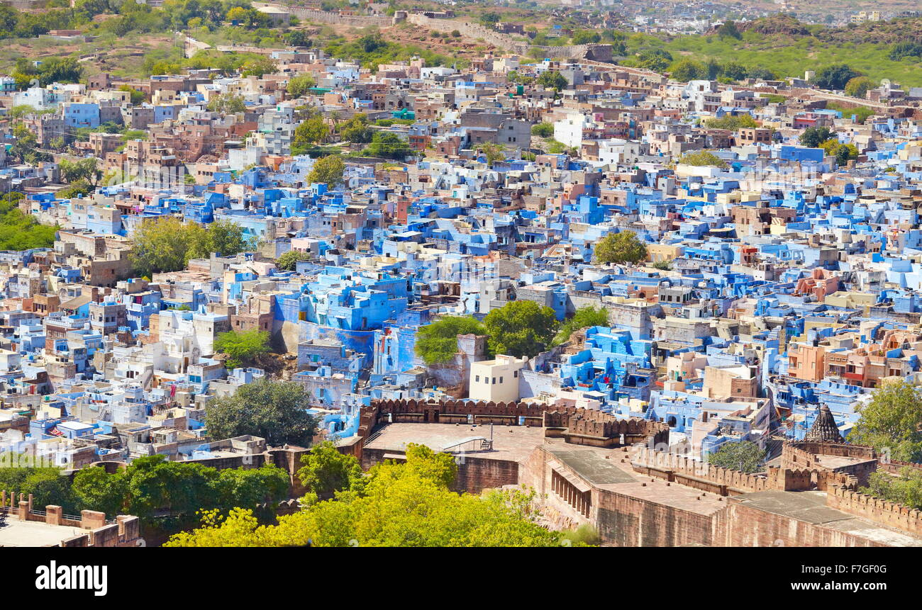 Aerial view of Jodhpur, the Blue City of Rajasthan, India - Stock Image