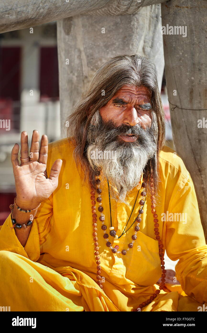 Portrait of Sadhu, India Hindu Holy Man, Udaipur, India - Stock Image