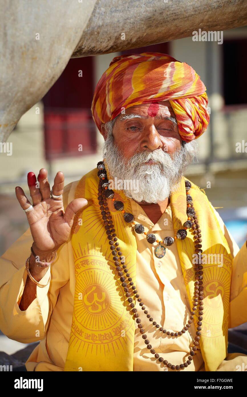 Holy Man - portrait of old Sadhu, India Hindu Holy Man, Udaipur, India - Stock Image