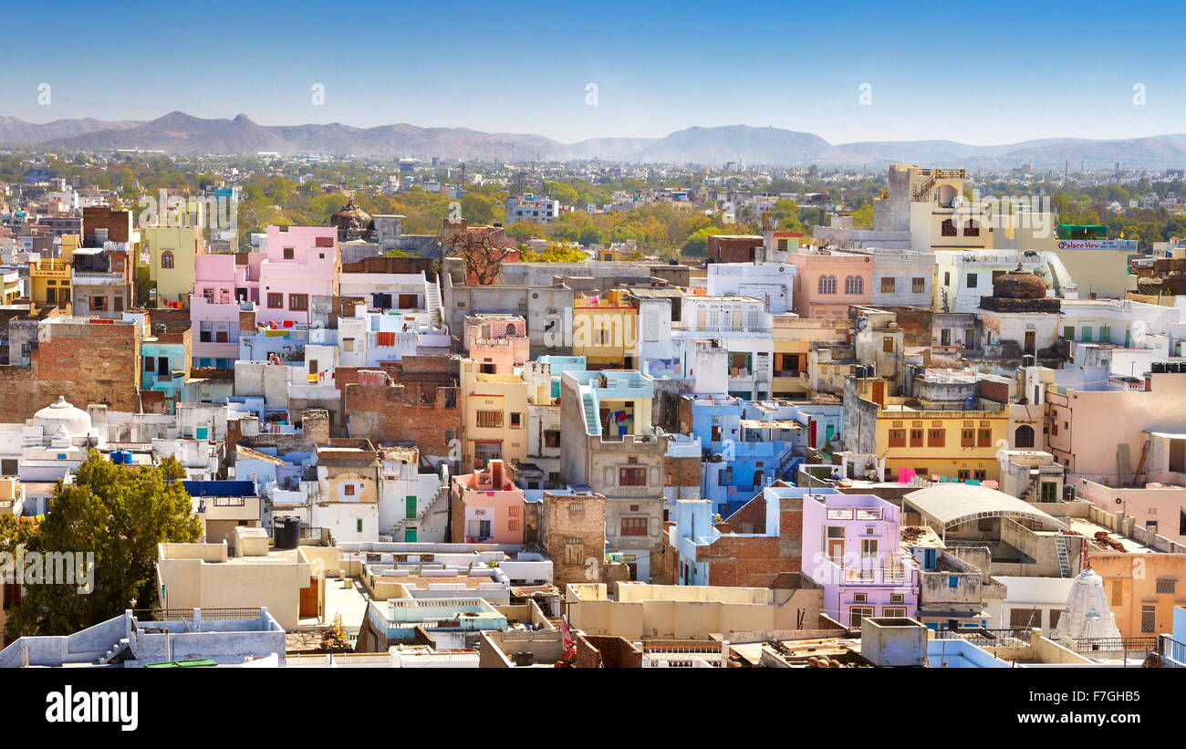 Aerial view of Udaipur town from the City Palace, Udaipur, Rajasthan, India Stock Photo