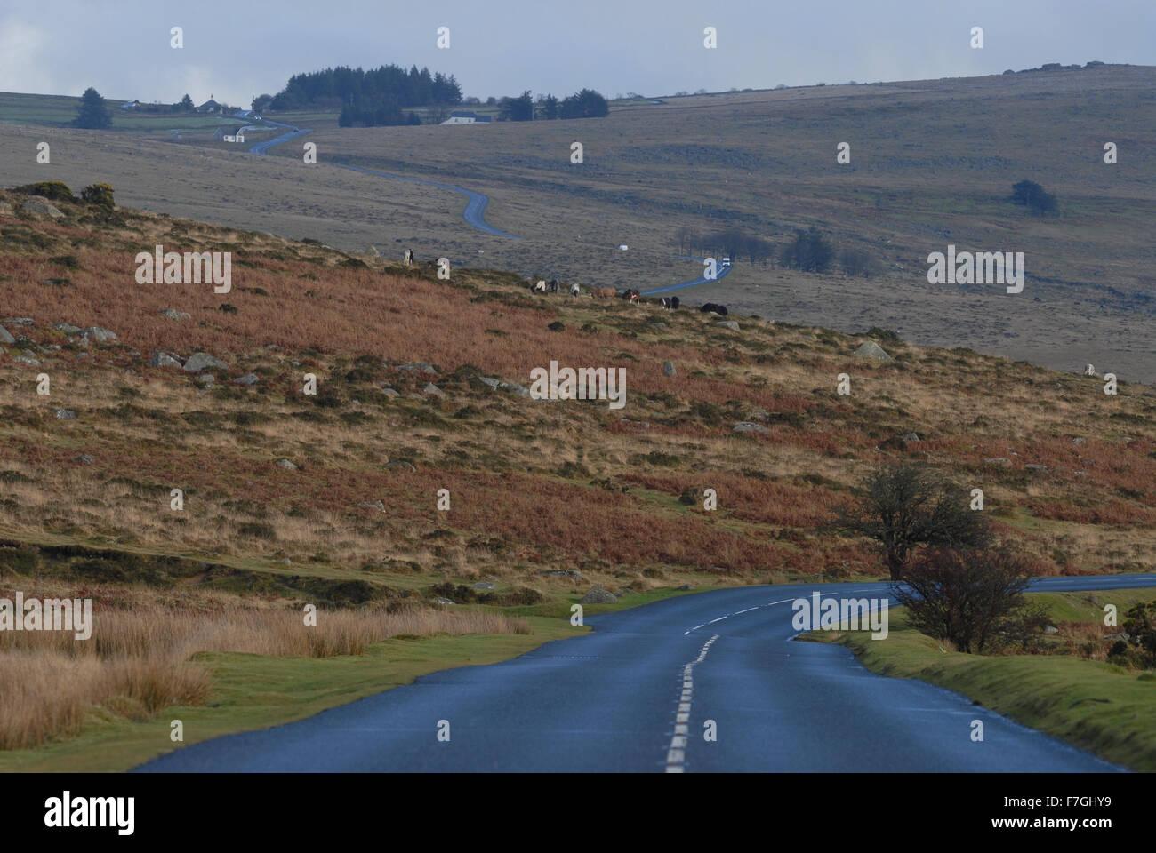 Road through Dartmoor National Park in the winter, Devon, England - Stock Image