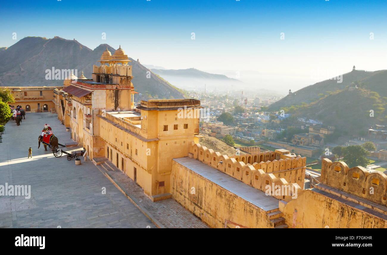 External walls of Amber Fort Amber Palace in Jaipur, Rajasthan, India - Stock Image