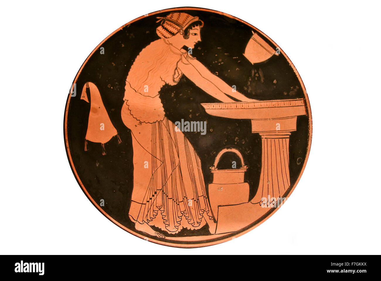 Ancient greek vase paintings in black over red ceramic. Isolated over white background - Stock Image