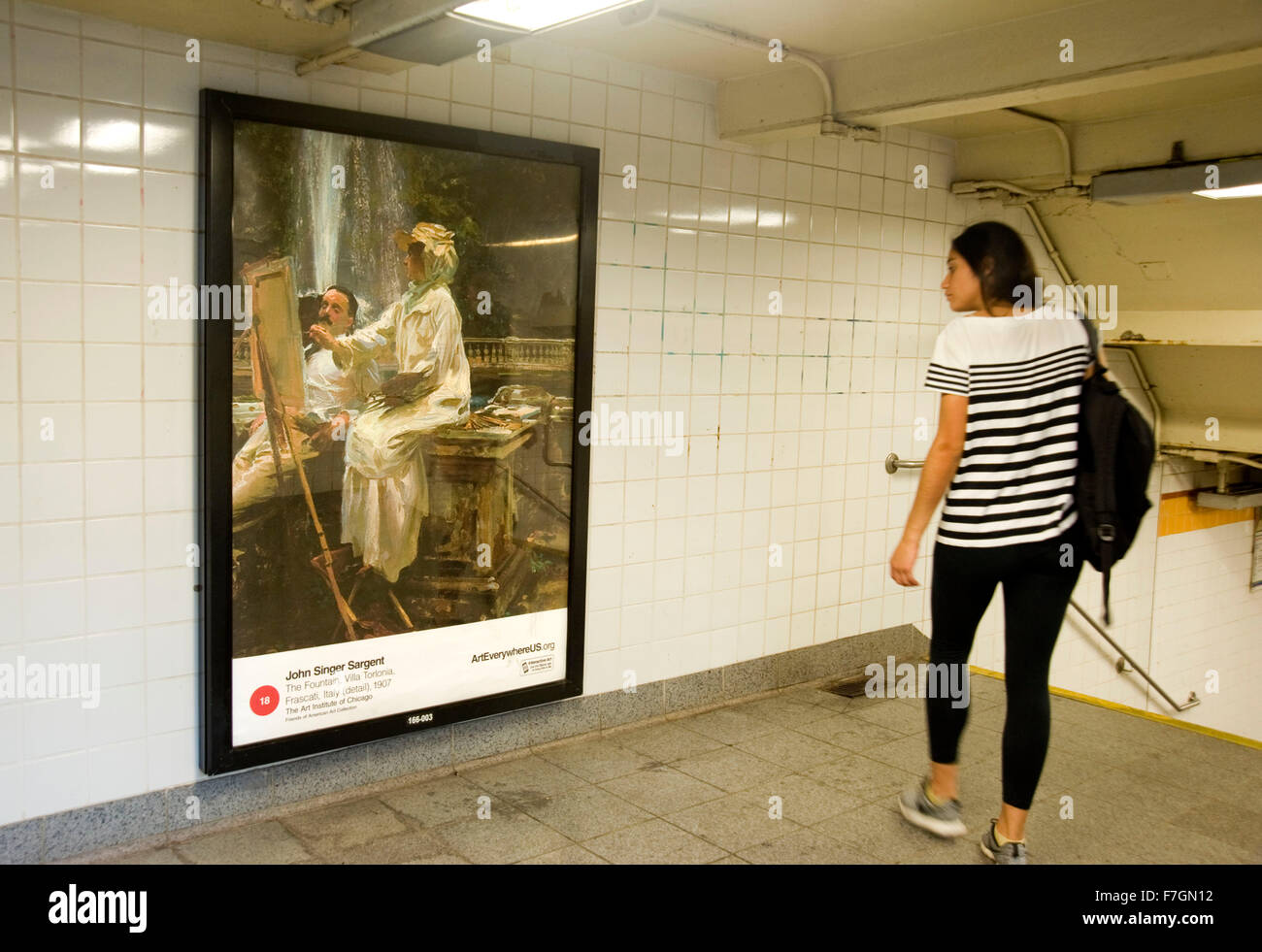 John Singer Sargent painting reproduced on advertising panel in New York city subway as part of the Art Everywhere Stock Photo