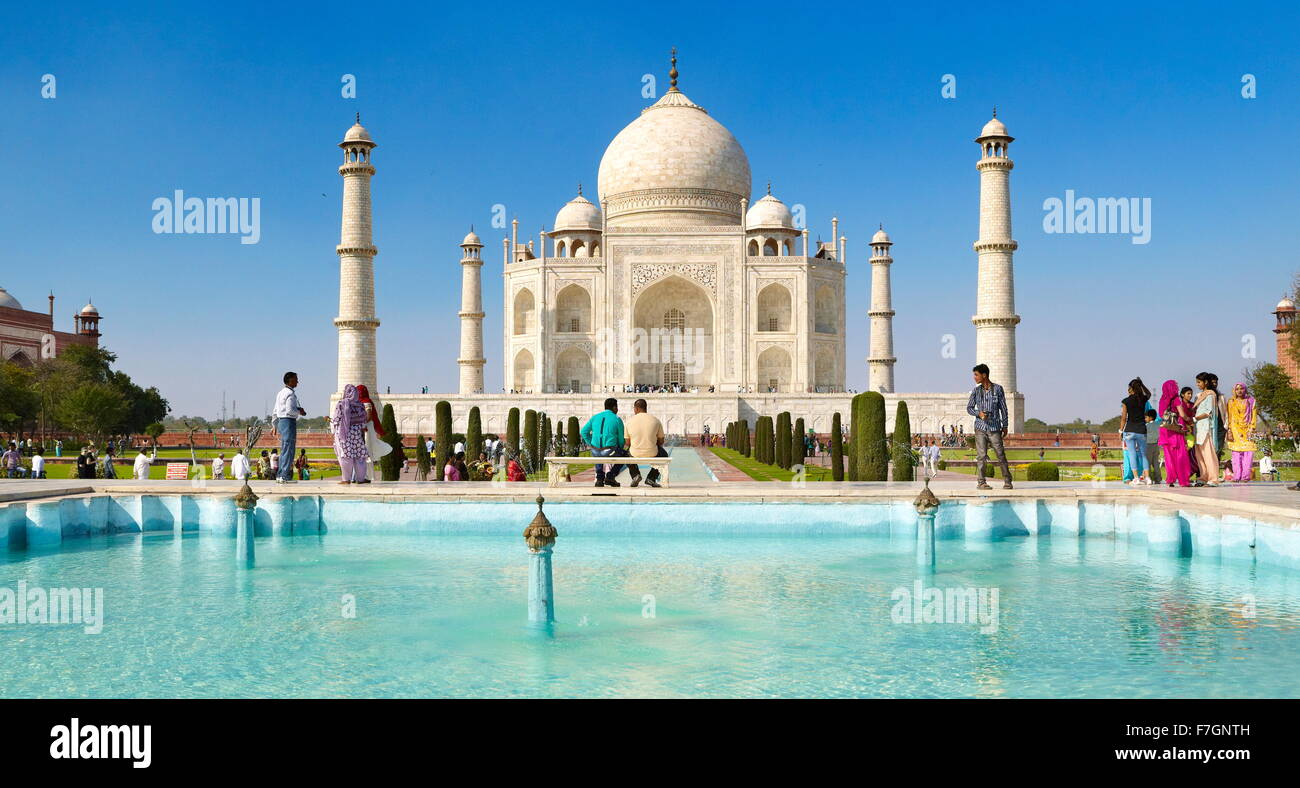 Front view of Taj Mahal, Agra, Uttar Pradesh, India - Stock Image