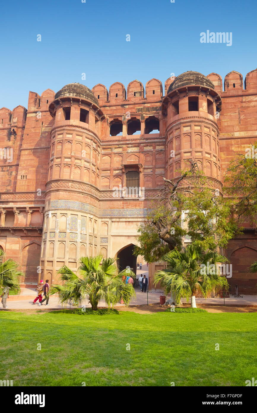 Agra Red Fort - The Amar Singh Gate, fortified main entrance gate, Agra, India - Stock Image