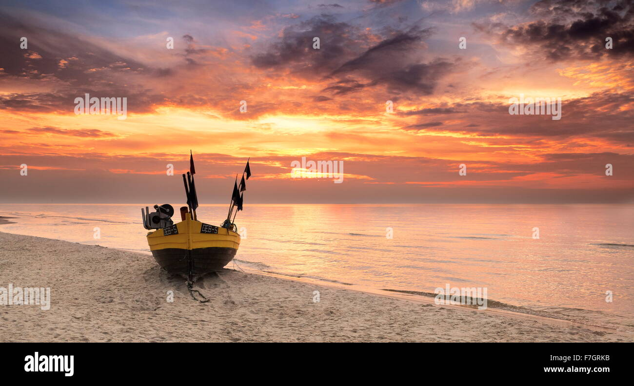 Sunset time landscape, Baltic Sea, Poland - Stock Image