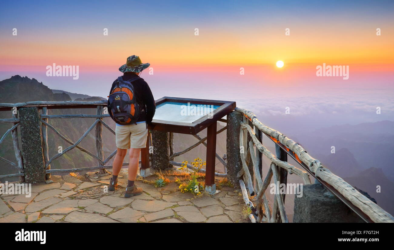 Madeira - sunrise landscape on the mountains way to Pico Ruivo Peak, Madeira Island, Portugal - Stock Image