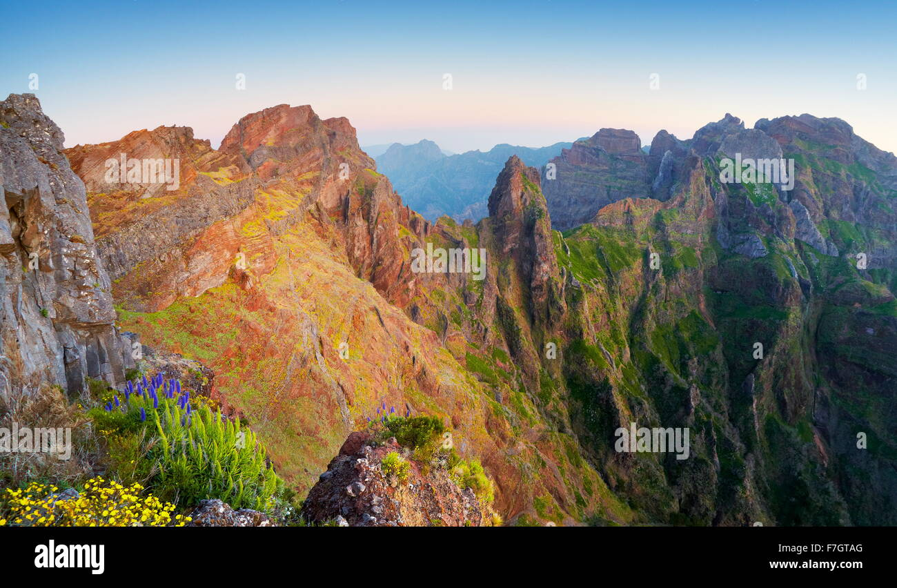 Mountains view on the way to Pico Ruivo, Madeira Island, Portugal - Stock Image