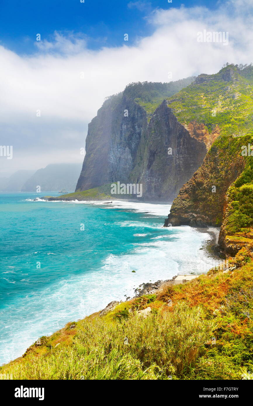 Cliff coastline near Ponta Delgada, Madeira Island, Portugal - Stock Image