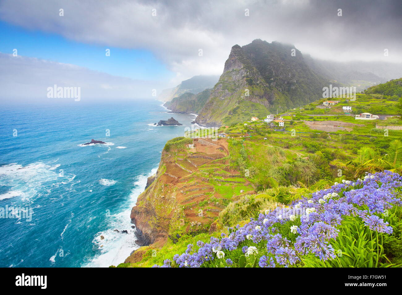 Madeira - landscape of cliff coast near Ponta Delgada, Madeira, Portugal - Stock Image