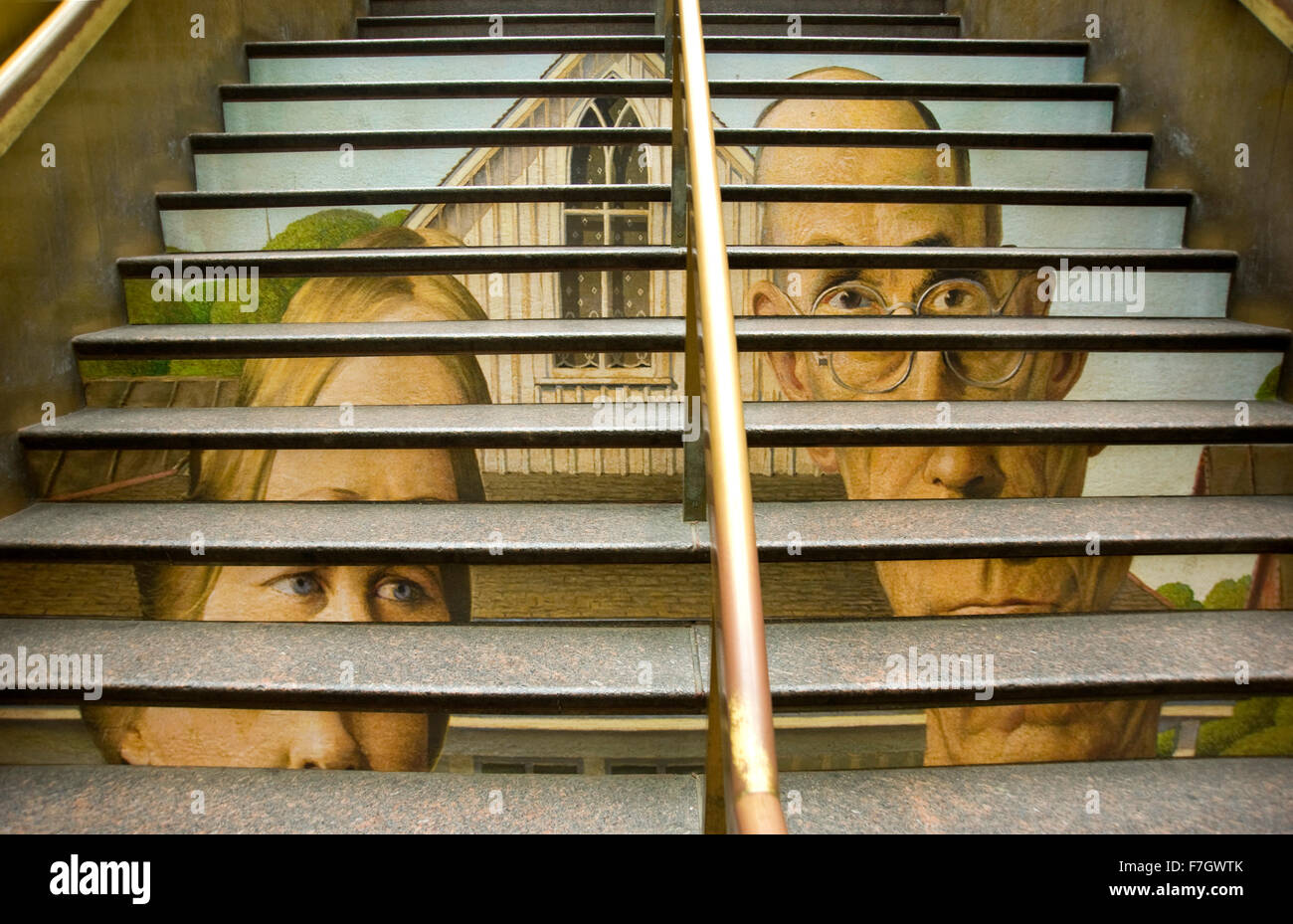 Detail of Grant Wood painting American Gothic reproduced on stairway of Port Authority bus station in Manhattan - Stock Image