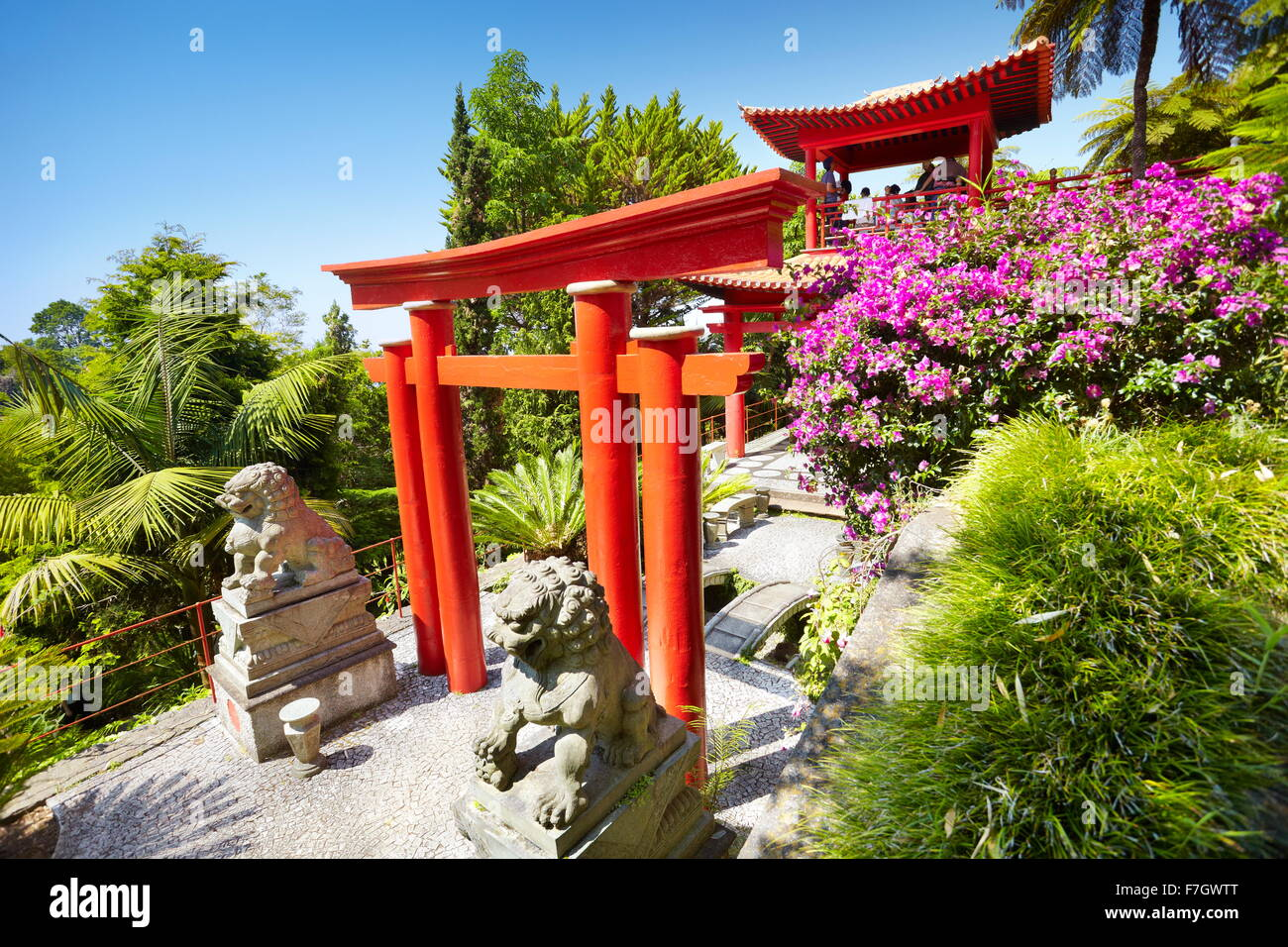 Japanese japan oriental tropical garden - Monte, Madeira Island, Portugal - Stock Image