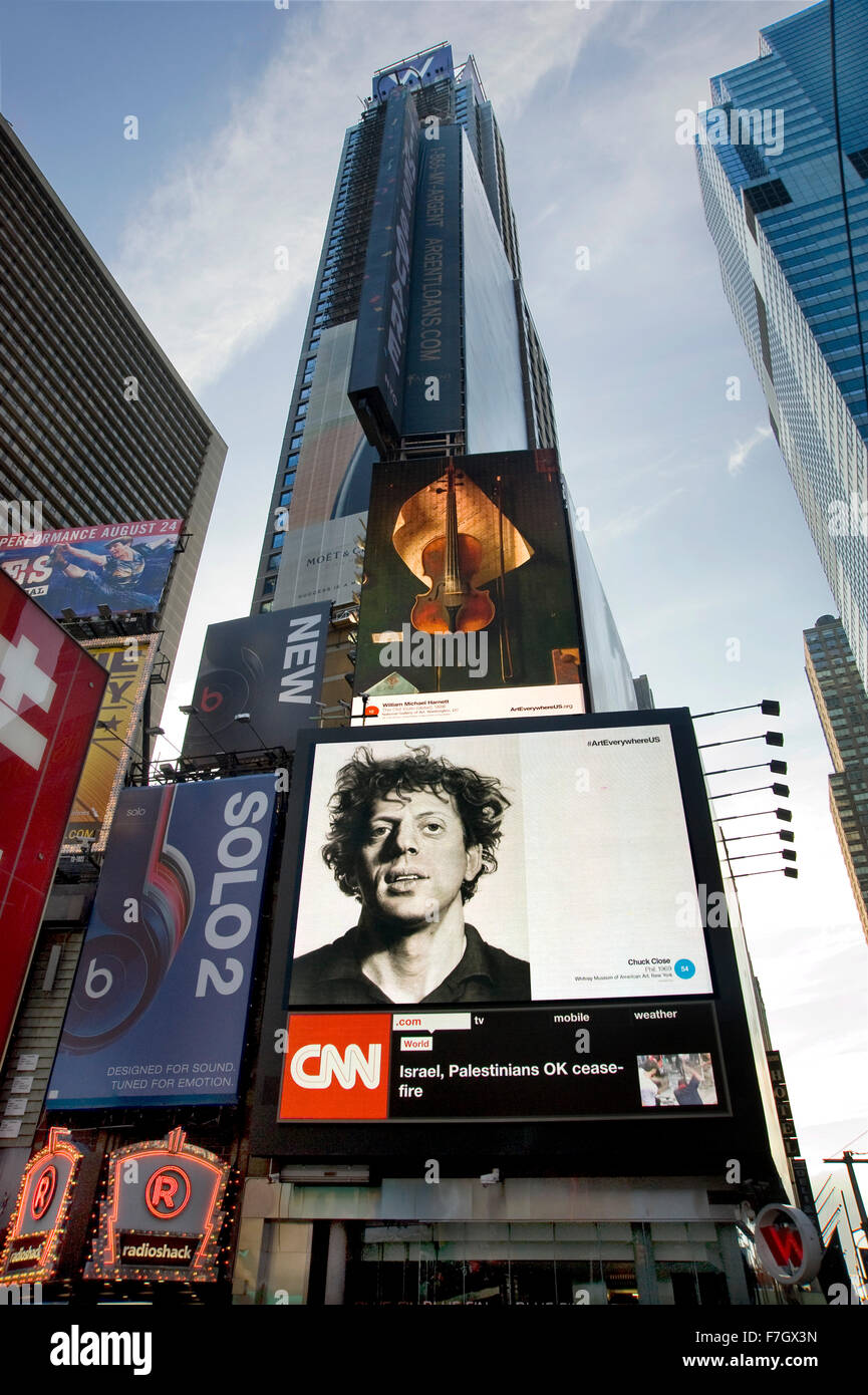 Fine art images by artists appear on commercial billboards in Times Square, New York during the Art Everywhere project. - Stock Image