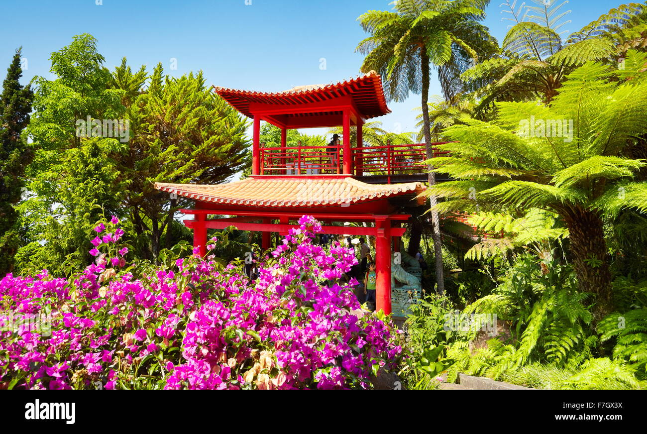 Japan japanese oriental flower garden Monte Palace Tropical Garden  - Madeira Island, Portugal - Stock Image