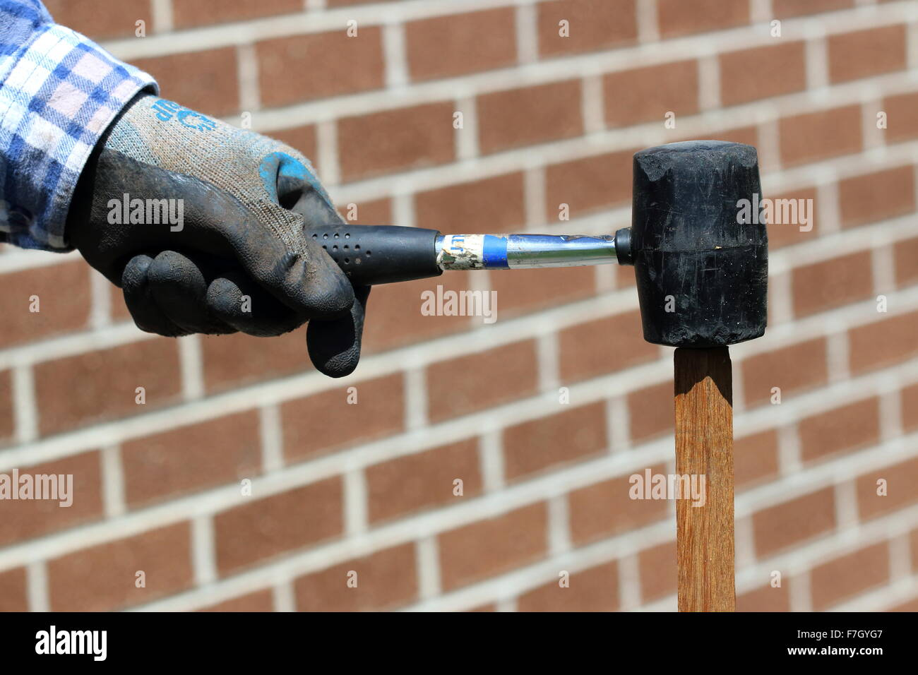 Hammering garden stake using rubber mallet Stock Photo: 90727287 - Alamy